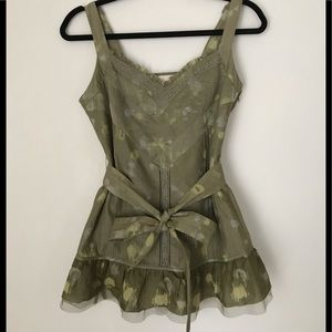 DKNY Jeans Green Print Top with Ruffles & Ribbons